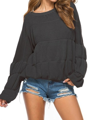 Polyester Round Neckline Solid Loose None Sweaters