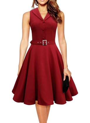 Solid Wrap V-Neckline Knee-Length A-line Dress
