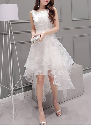 Polyester Solid Sleeveless High Low Dresses