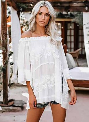 Solid Casual Off the Shoulder 3/4 Sleeves Blouses