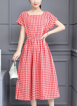 Cotton Color Block Short Sleeve Midi A-line Dress