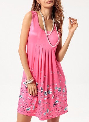 Floral Embroidery Tank Camisole Neckline A-line Dress