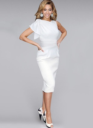 Solid Pencil Short Sleeve Knee-Length Bodycon Dress