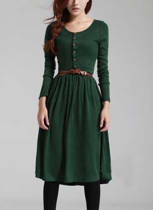Solid Buttons Sweater Knee-Length A-line Dress