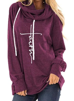 Alphabet Casual Hooded Sweatshirts (106153695)