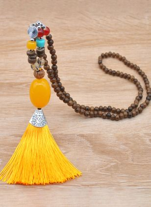 Casual Tassel Gemstone Pendant Necklaces (148039149)