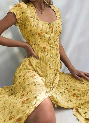 Casual Floral Square Neckline Midi X-line Dress (4074513)