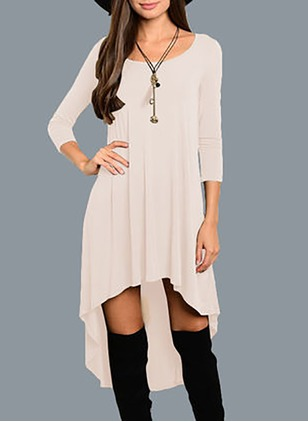 Cotton Solid Long Sleeve High Low Dresses