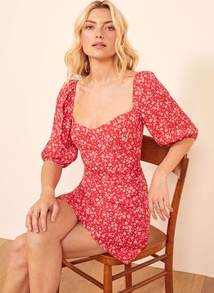 Floral Peasant Half Sleeve Above Knee X-line Dress