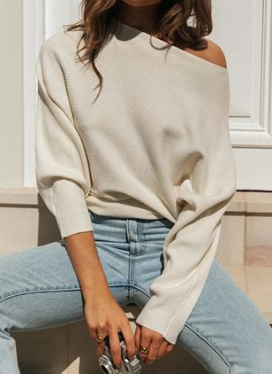 Oblique Neckline Solid Elegant Loose Regular Shift Sweaters (107561579)