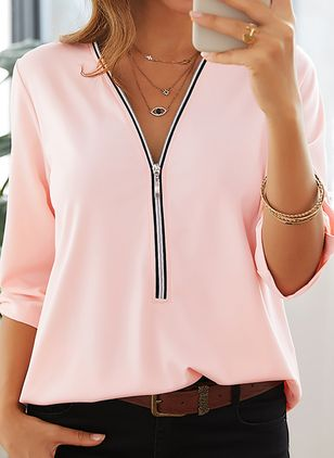Solid Casual V-Neckline Half Sleeve Blouses (4663082)