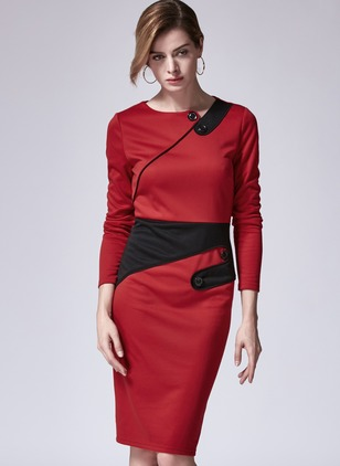 Cotton Blends Solid Long Sleeve Midi Dresses