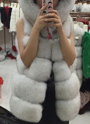 Sleeveless Hooded Gilet Fur Coats