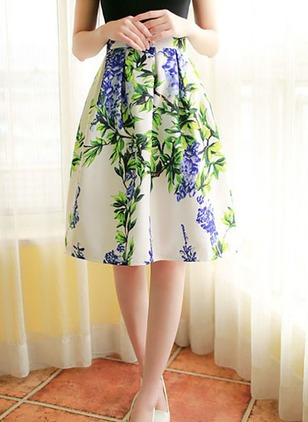 Cotton Floral Knee-Length Casual Skirts