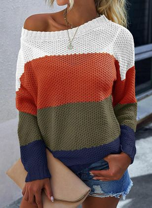 Round Neckline Color Block Casual Loose Regular Shift Sweaters (146956398)