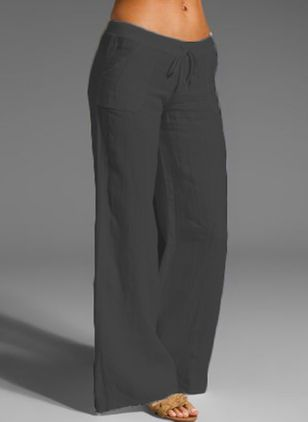 Casual Loose Pockets Mid Waist Polyester Pants (146981419)