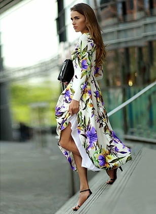 Floral Skater Long Sleeve Midi A-line Dress