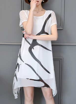 Stripe Shirt Short Sleeve Knee-Length Shift Dress
