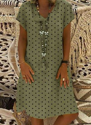 Polka Dot Tunic V-Neckline Knee-Length Shift Dress
