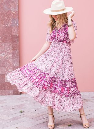 Floral Ruffles Peasant Midi X-line Dress