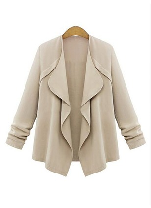 Cotton & Cotton Blend Long Sleeve Lapel Ruffles Coats