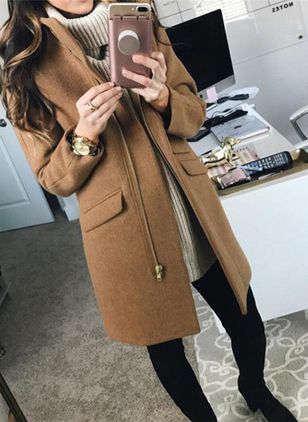 Long Sleeve Lapel Zipper Pockets Coats (120648936)
