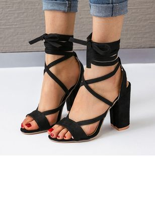 Hollow-out Heels Chunky Heel Shoes
