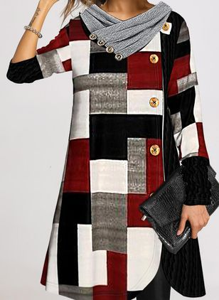 Casual Plaid Tunic V-Neckline A-line Dress (146859265)