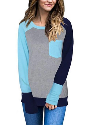 Color Block Casual Cotton Round Neckline Pockets Sweatshirts