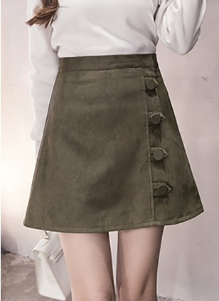 Cotton Solid Above Knee Casual Buttons Skirts