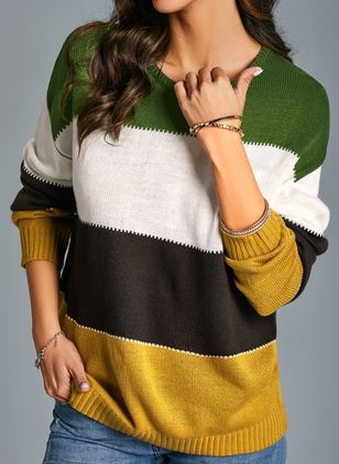 Round Neckline Color Block Casual Short Shift Sweaters (1403481)