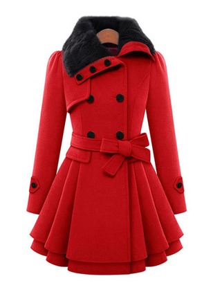 Cotton & Cotton Blend Long Sleeve Collar Ruffles Sashes Buttons Coats