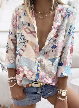 Floral Casual Collar Long Sleeve Blouses (104147997)