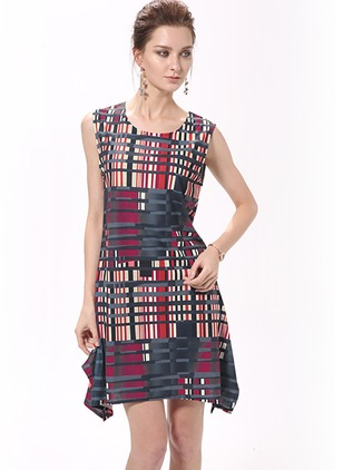 Color Block Ruffles Sleeveless Above Knee Shift Dress