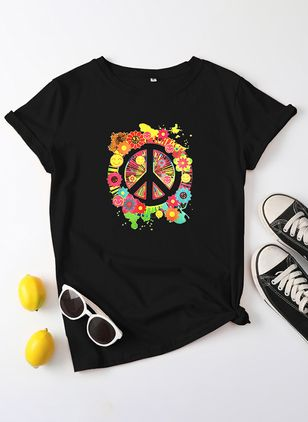 Floral Round Neck Short Sleeve Casual T-shirts (147142811)