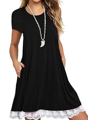Casual Solid Tunic Round Neckline Shift Dress (4044388)