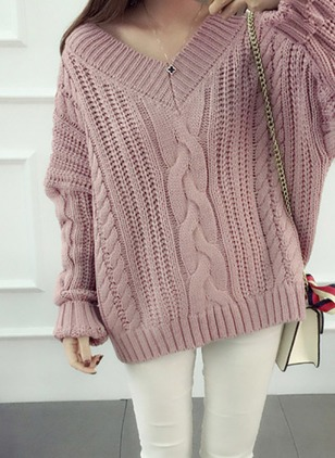 Acrylic V-Neckline Solid Loose None Sweaters