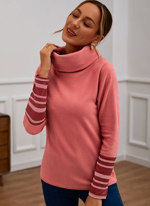 Draped Neckline Color Block Casual Tight Regular X-line Sweaters (122029251)