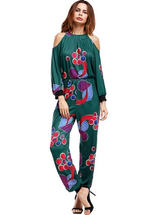 Polyester Geometric Long Sleeve Jumpsuits & Rompers