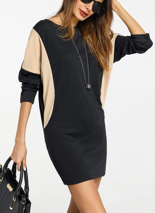 Cotton Color Block Sweater Long Sleeve Dress