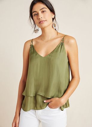 Solid Casual V-Neckline Sleeveless Blouses