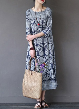 Cotton Geometric 3/4 Sleeves Mid-Calf Vintage Dresses