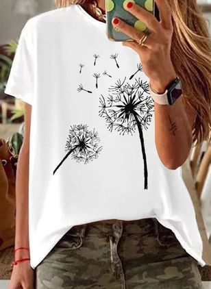 Floral Round Neck Short Sleeve Casual T-shirts (4135486)