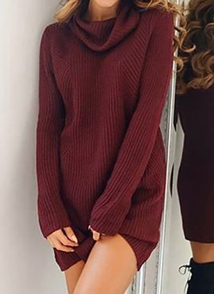 Draped Neckline Solid Elegant Loose Long Shift Sweaters (107563133)