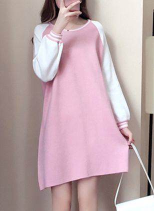 Color Block Sweatershirt Long Sleeve Above Knee Shift Dress