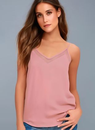 Solid Sexy Camisole Neckline Sleeveless Blouses