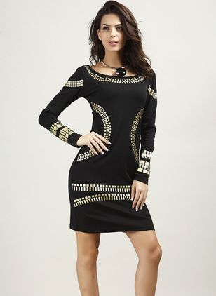 Geometric Pencil Long Sleeve Above Knee Sheath Dress