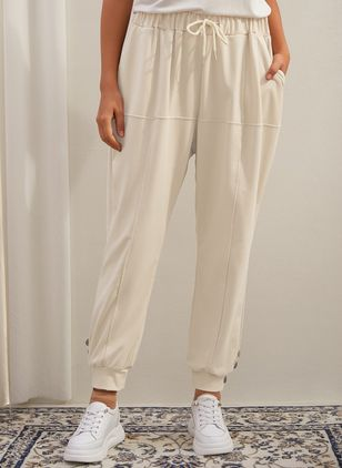 Casual Loose Buttons Pockets High Waist Polyester Pants (146650473)