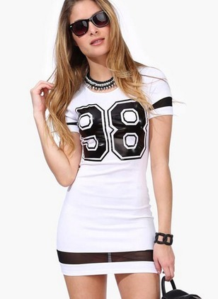 Alphabet Pencil Short Sleeve Bodycon Dress