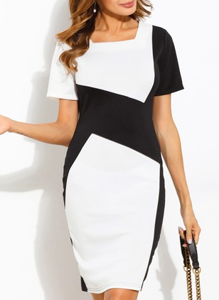 Color Block Short Sleeve Bodycon Dress